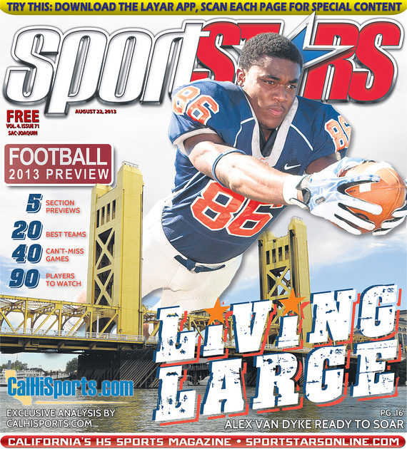 Sharp-Eye Images photo shoot for SportStars Magazine feature of senior football player Alex Van Dyke from Cosumnes Oaks High School in Elk Grove